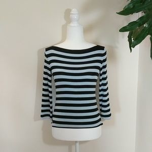 BCBGMaxAzria Light Blue & Black Stripped Knit Top